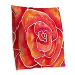 Red-Orange Rose Burlap Throw Pillow