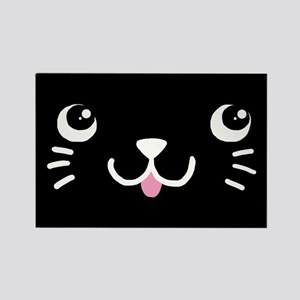 Black Kitty Face Rectangle Magnet