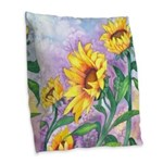 Sunny Sunflowers Watercolor Burlap Throw Pillow