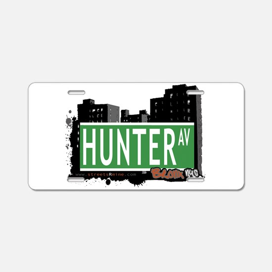 Hunter Ave Aluminum License Plate
