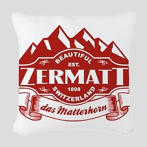 Zermatt Mountain Emblem Woven Throw Pillow