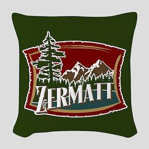 Zermatt Mountain Banner Woven Throw Pillow