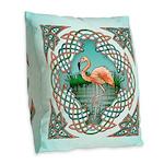 Celtic Flamingo Art Burlap Throw Pillow