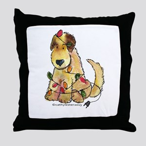 Doodle Holiday Lights Throw Pillow