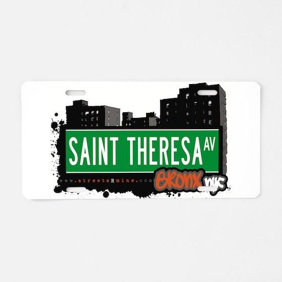 Saint Theresa Ave Aluminum License Plate