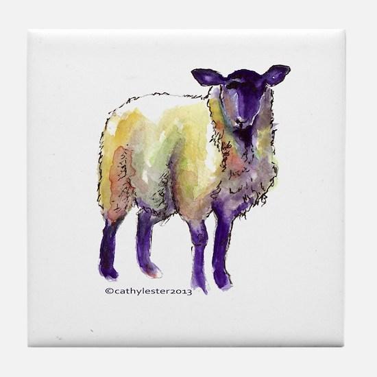Black Face Sheep Tile Coaster