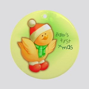 Baby's First Christmas Ducky Ornament (Round)
