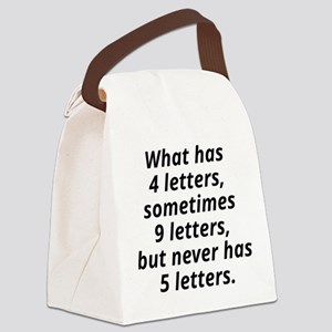 What Has 4 Letters Canvas Lunch Bag
