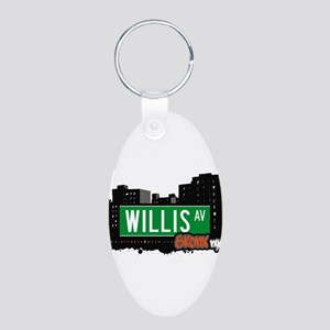 Willis Ave Aluminum Oval Keychain