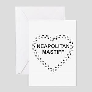 neapolitan mastiff paw heart Greeting Cards