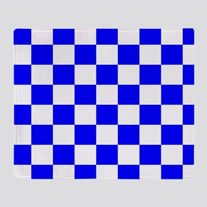 Blue and white checkerboard Throw Blanket