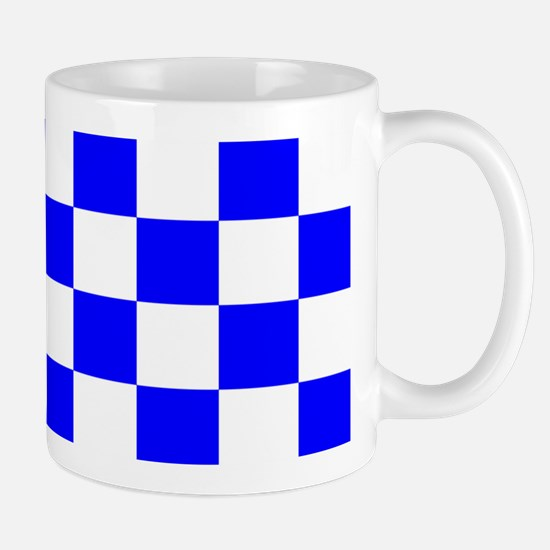 Blue and white checkerboard Mug