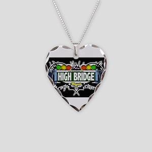 high bridge Bronx NYC (Black) Necklace Heart Charm