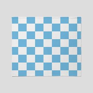Sky Blue Checkerboard Throw Blanket