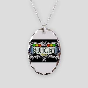 Soundview Bronx NYC (Black) Necklace Oval Charm