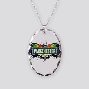 Parkchester Bronx NYC (White) Necklace Oval Charm