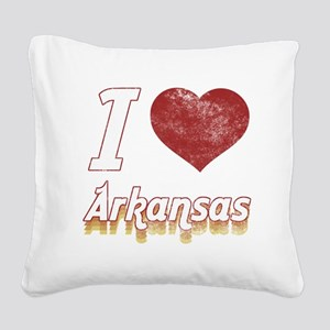 I Love Arkansas (Vintage) Square Canvas Pillow