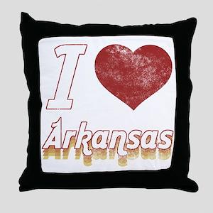 I Love Arkansas (Vintage) Throw Pillow