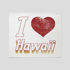 I Love Hawaii (Vintage) Throw Blanket