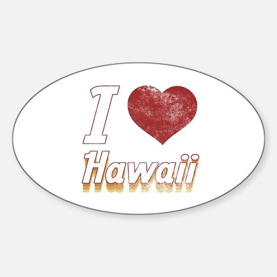 I Love Hawaii (Vintage) Sticker (Oval)
