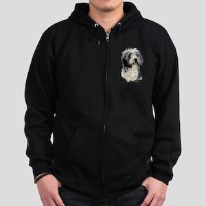 Bearded Collie Zip Hoodie (dark)