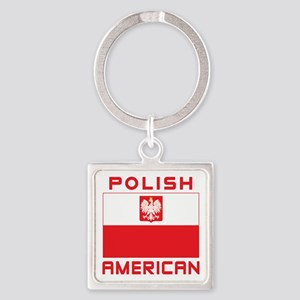 Polish American Falcon Flag Square Keychain