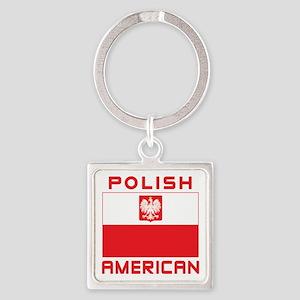 Polish American Falcon Flag Square Keychain