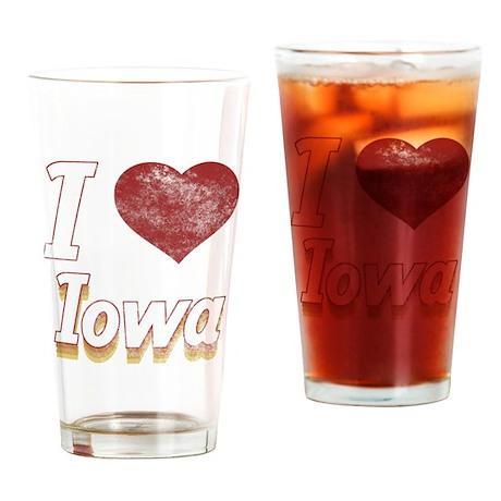 I Love Iowa (Vintage) Drinking Glass