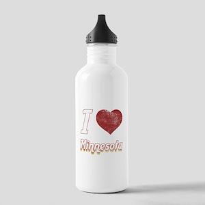 I Love Minnesota (Vintage) Stainless Water Bottle