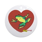 ASL Frog in Heart White Ornament (Round)