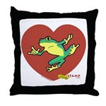 ASL Frog in Heart White Throw Pillow