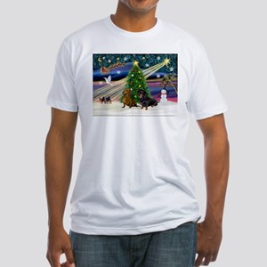 Xmas Magic & Doxie Pair Fitted T-Shirt