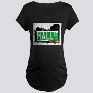 HALL ST, BROOKLYN, NYC Maternity Dark T-Shirt