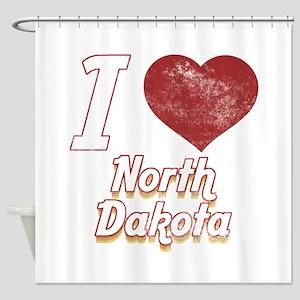 I Love North Dakota (Vintage) Shower Curtain