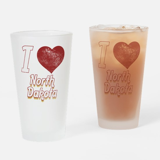 I Love North Dakota (Vintage) Drinking Glass