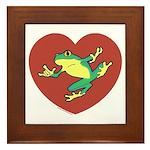 ASL Frog in Heart White Framed Tile