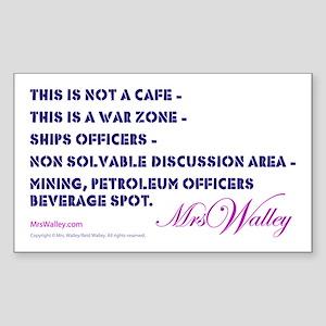 "Mrs Walley ""War Zone"" Rectangle Sticker"