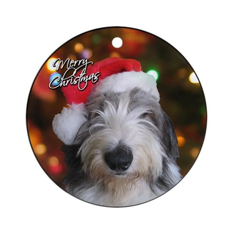 Merry Christmas Old English Sheepdog Ornament