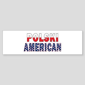 Polski American Flag Text Sticker (Bumper)