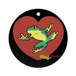 ASL Frog in Heart Black Ornament (Round)