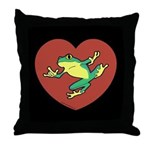 ASL Frog in Heart Black Throw Pillow