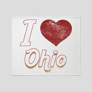 I Love Ohio (Vintage) Throw Blanket