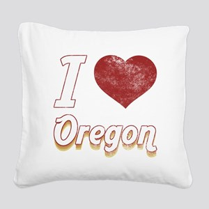 I Love Oregon (Vintage) Square Canvas Pillow