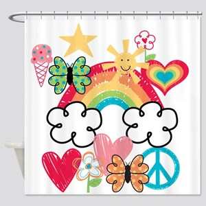 Happy Doodles Shower Curtain