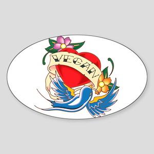 vegan tattoo Oval Sticker