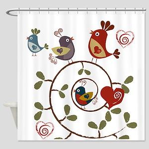 Folkart Birds Shower Curtain