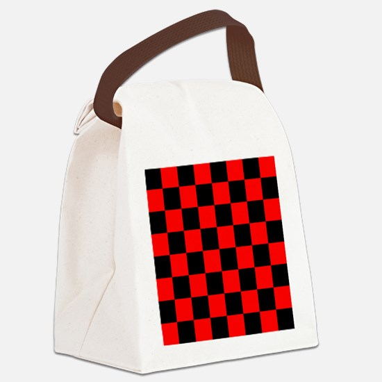 Bright red and black checkerboard Canvas Lunch Bag