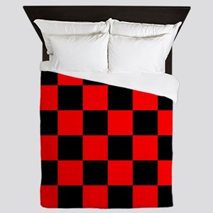Bright red and black checkerboard Queen Duvet