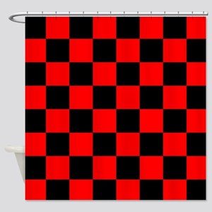 Bright Red And Black Checkerboard Shower Curtain