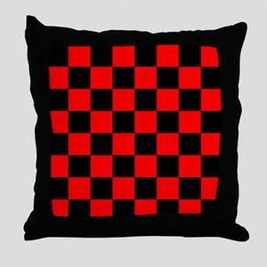 Bright red and black checkerboard Throw Pillow